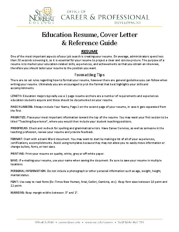 Education Resume Cover Letter And Reference Guide