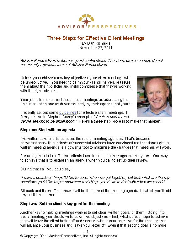 Effective Client Meeting Agenda Sample Template
