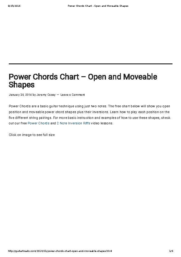 Electric Guitar Bar Chords Chart
