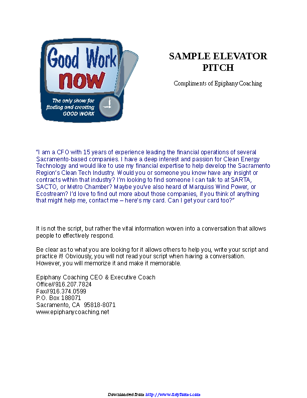 Elevator Pitch Examples 1