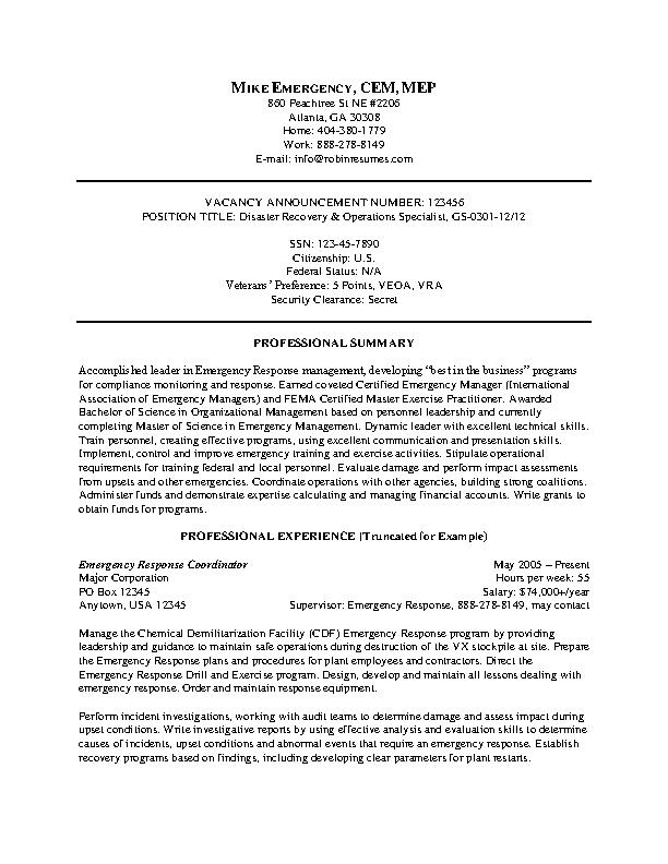 Emergency Federal Resume Example