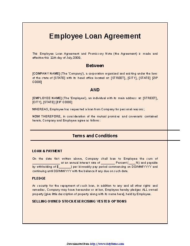 Employee Loan Agreement 2 Pdfsimpli