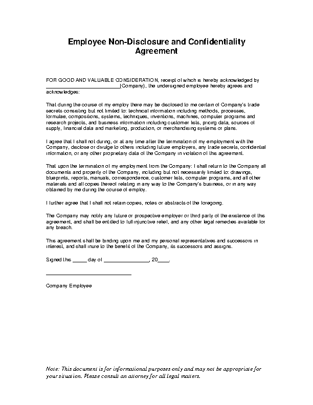 Employee Non Disclosure Agreement Pdfsimpli