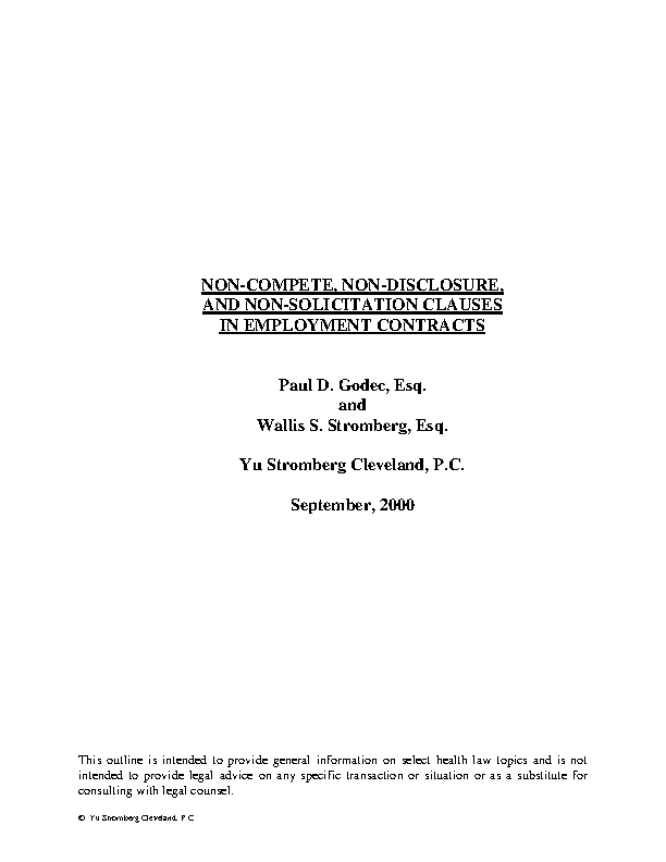 Employee Non Disclosure Non Compete Agreement