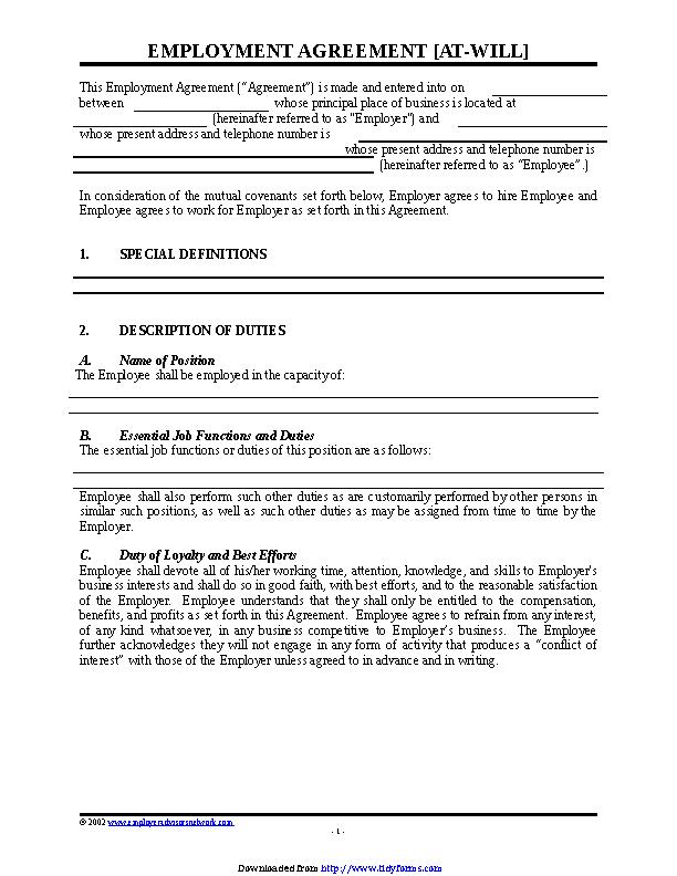 Employment Agreement Sample 2