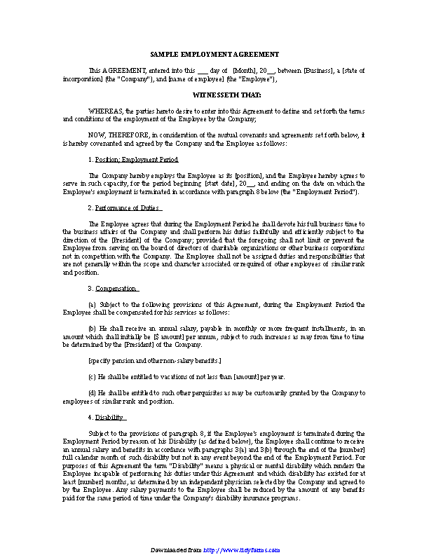 Employment Agreement Sample 3
