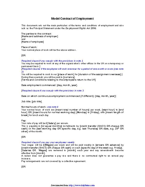 Employment Agreement Template 1