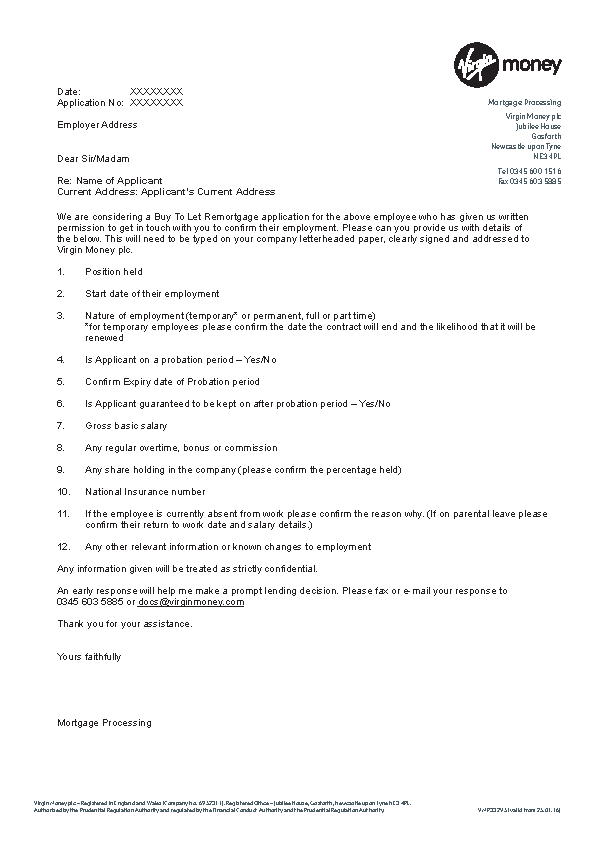 Employment Reference Letter For Mortgage