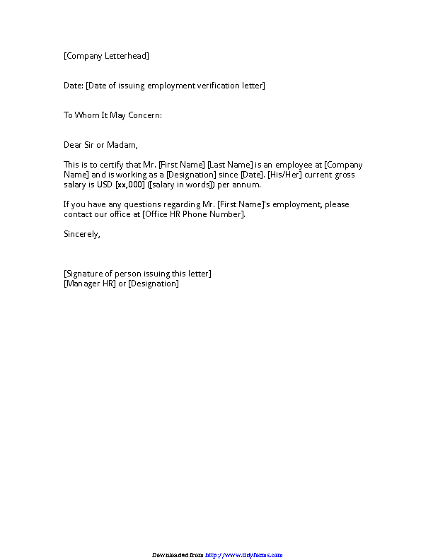 Employment Verification Letter For Us Visa