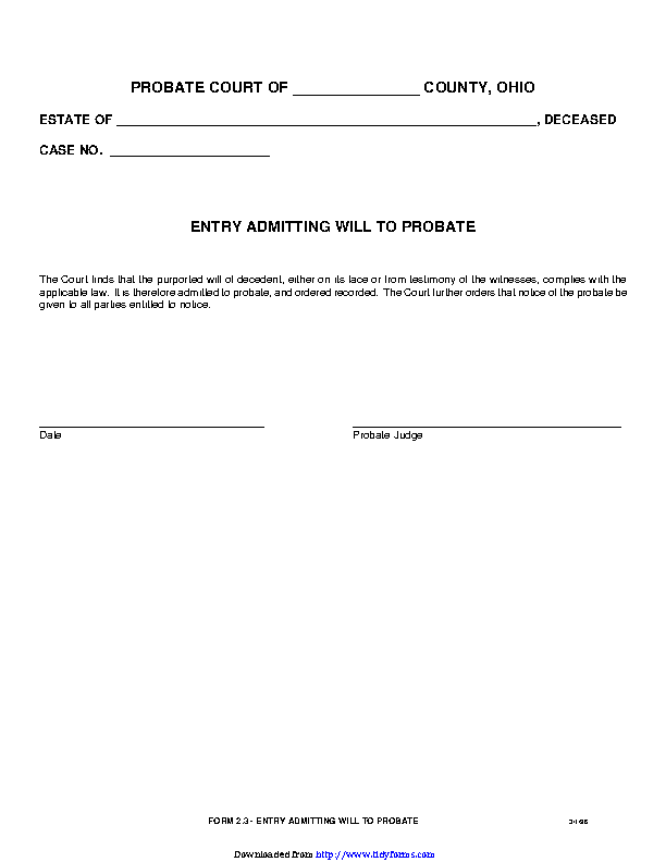 Entry Admitting Will To Probate