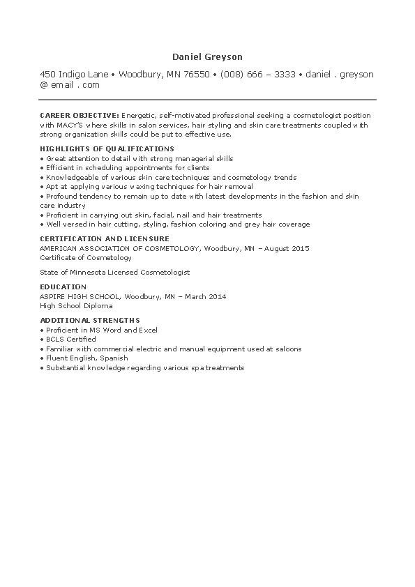 Entry Level Cosmetology Resume