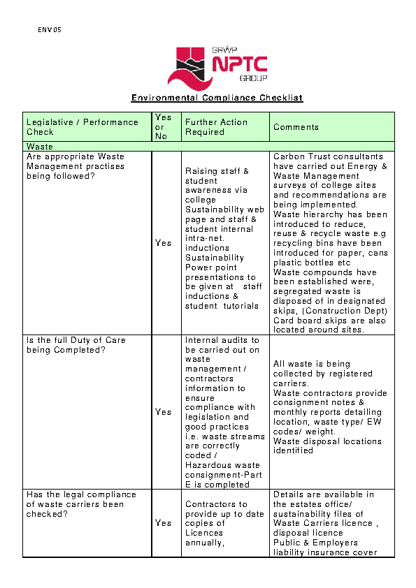 Environmental Compliance Checklist Template
