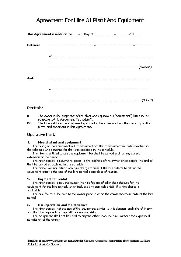 Equipment Rental Agreement Letter