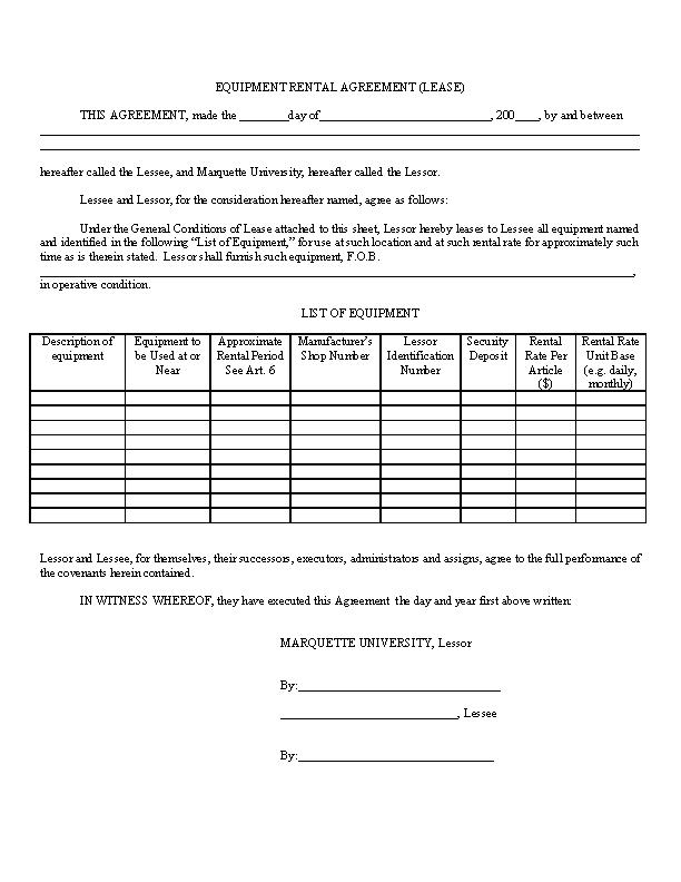 Equipment Simple Rental Agreement