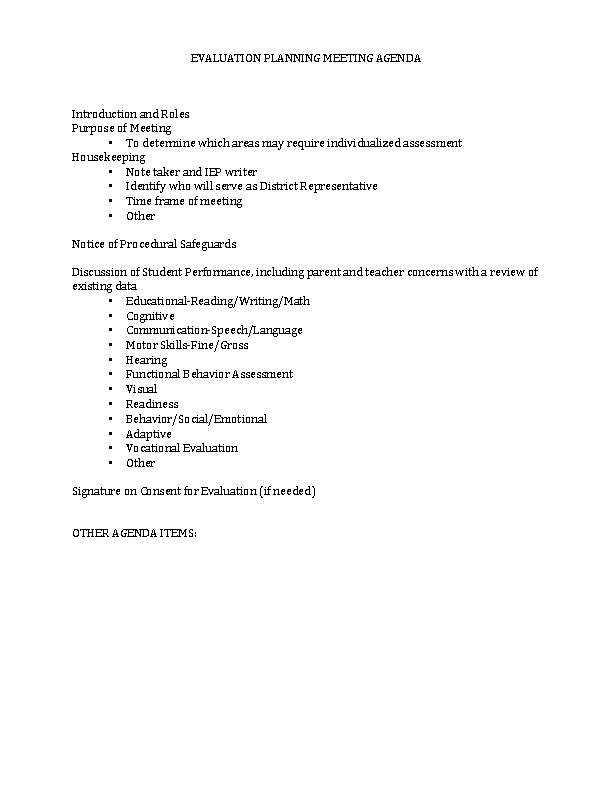 Evaluation Meeting Agenda
