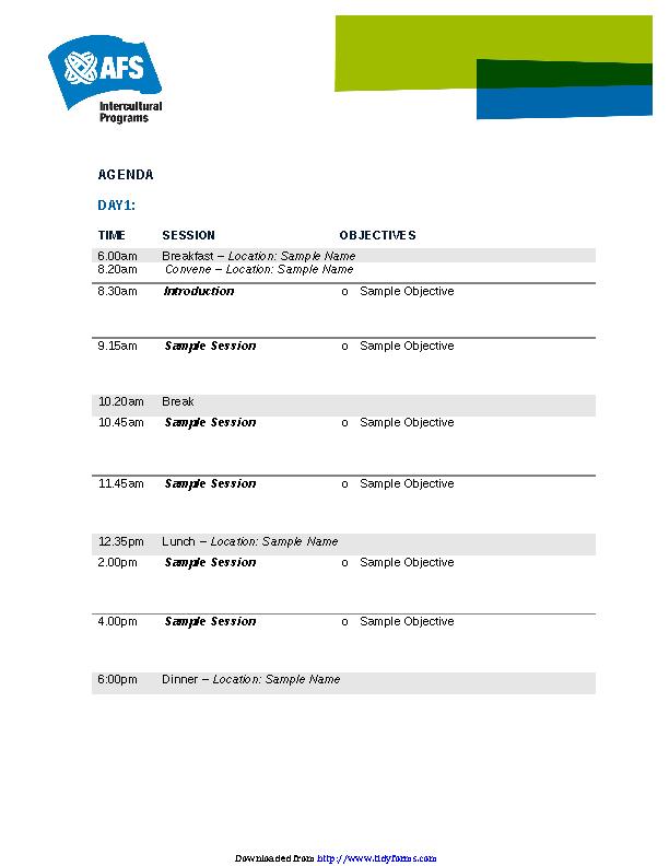 Event Agenda Document Template