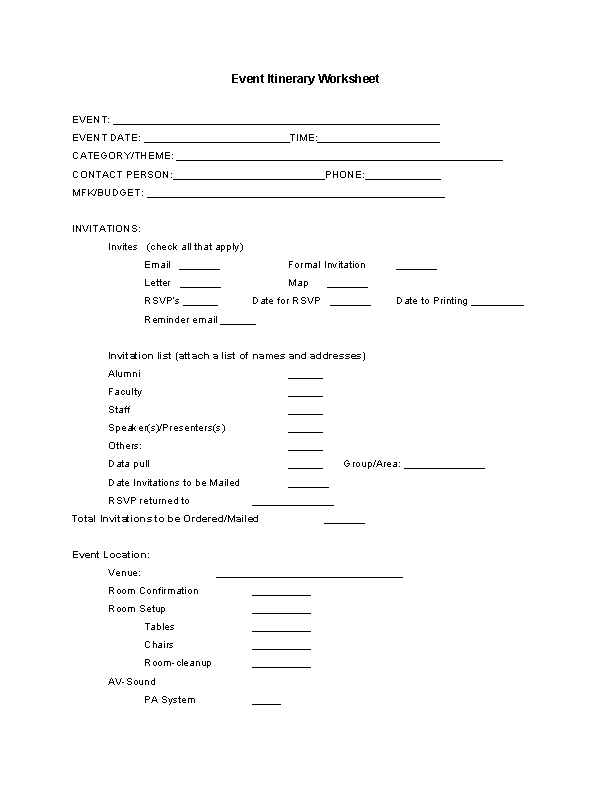 Event Itinerary Worksheet Template