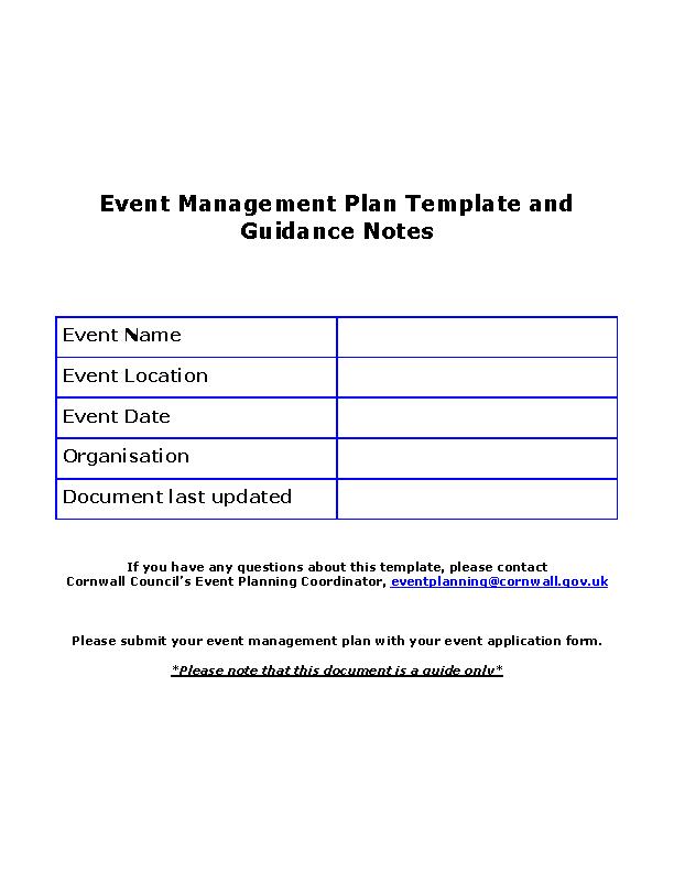Event Managemnet Plan Template