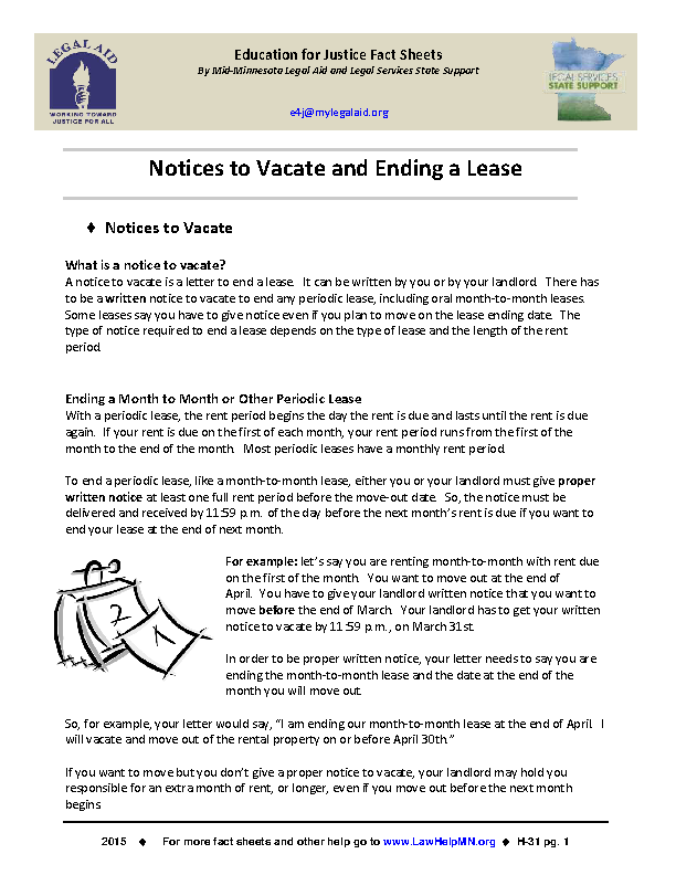 Eviction Notice Sample Template
