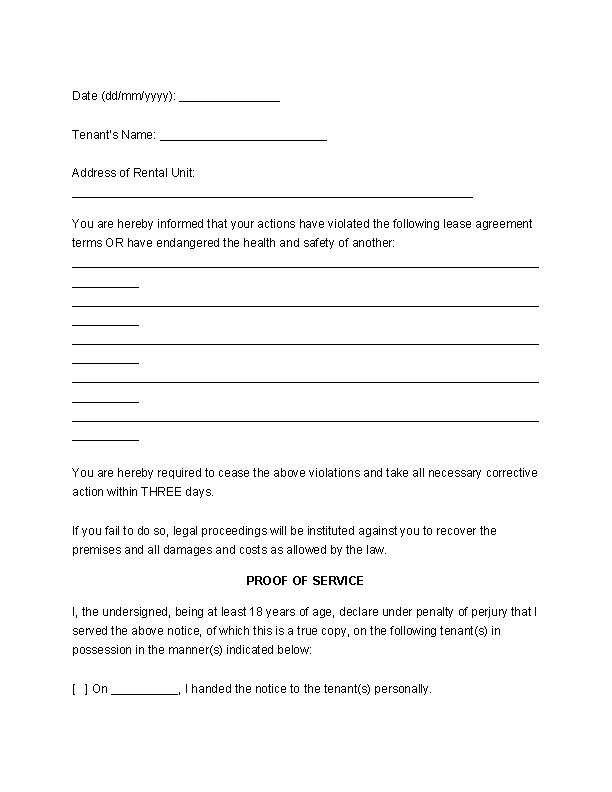 Eviction Notice To Tenant Template