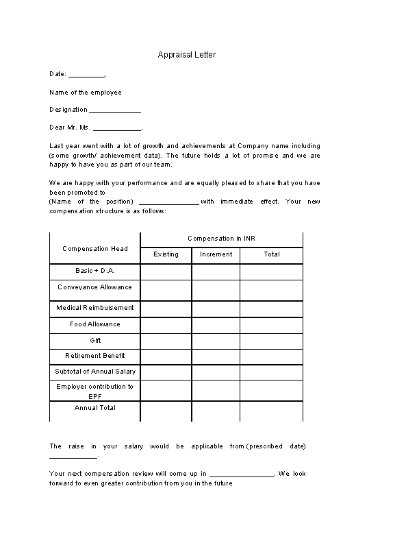 Example Appraisal Letter Template