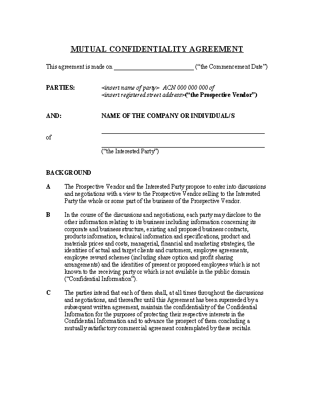 Example Basic Confidentiality Agreement 1
