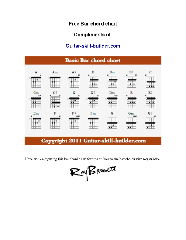 Example Basic Guitar Bar Chords Chart