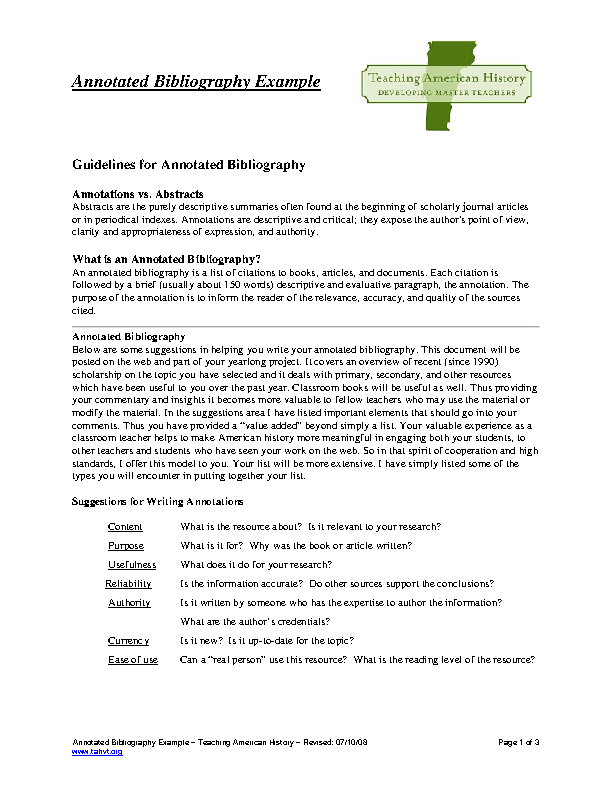 Example Blank Teaching Annotated Bibliography Template