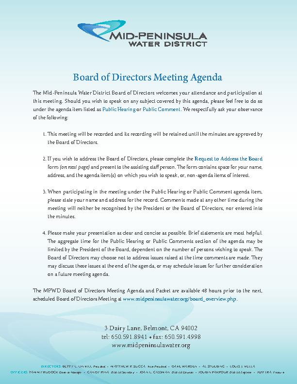 Example Board Of Directors Meeting Agenda Form