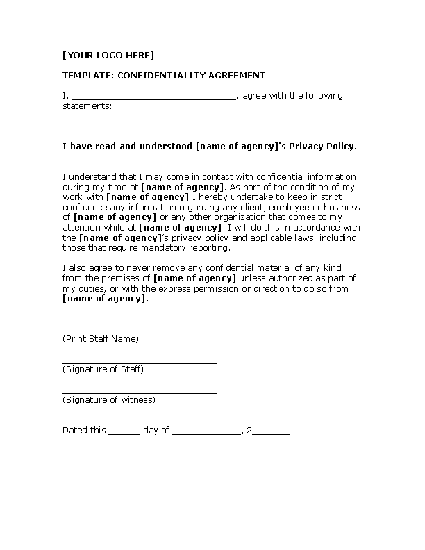 Example Celebrity Confidentiality Agreement Template