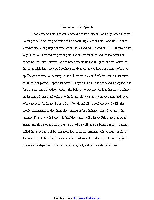 Example Commemorative Speech