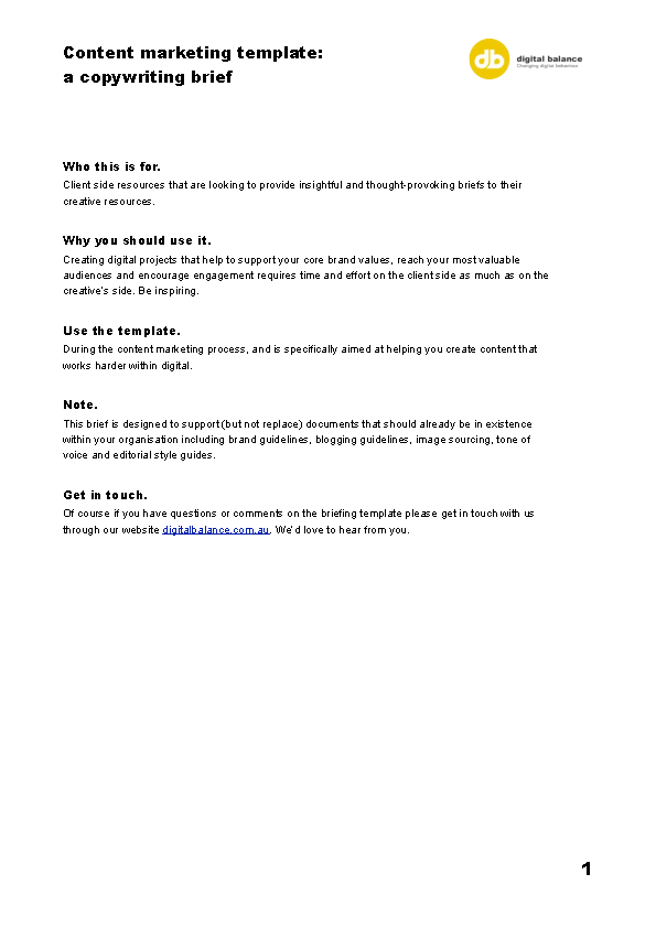Example Content Marketing Brief Template