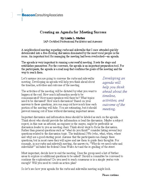 Example Creation Meeting Agenda