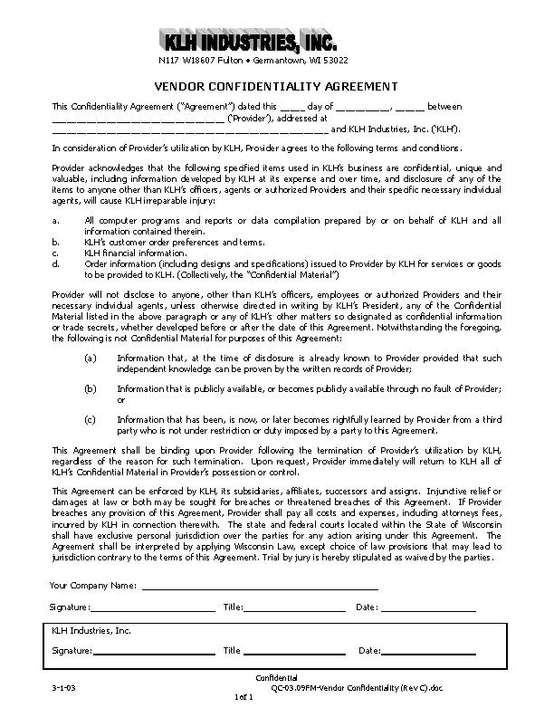 Example Customer List Vendor Confidentiality Agreement