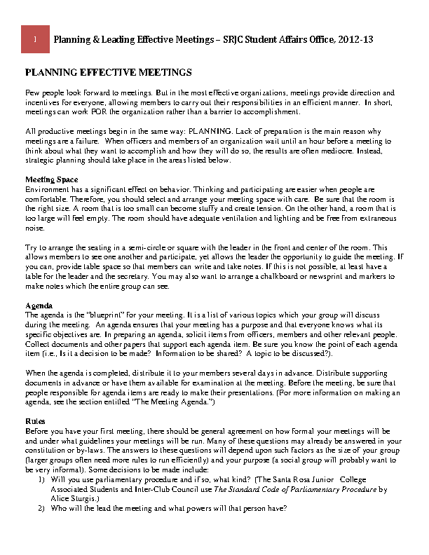 Example Effective Meeting Agenda Template For Student