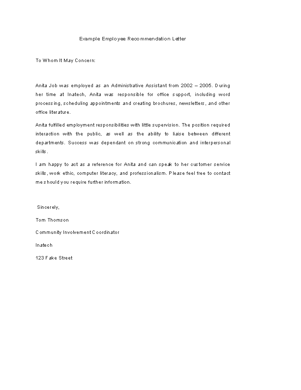 Employee Recommendation Letter Template from devlegalsimpli.blob.core.windows.net