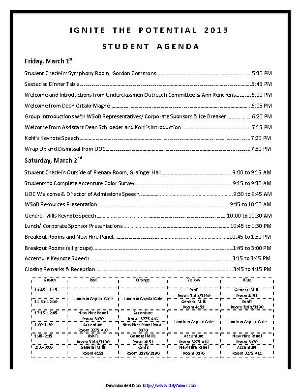 Example Event Agenda