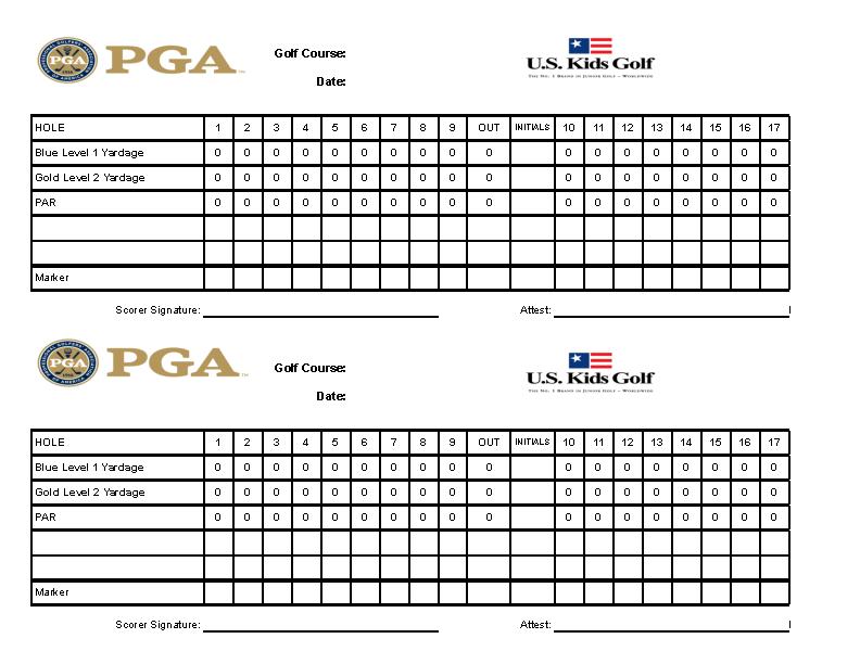 Example Excel Golf Scorecard