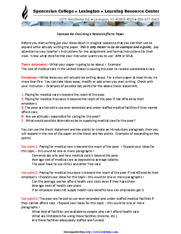 Example For Outlining A Research Term Paper