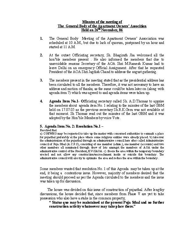 Example Formal Meeting Agenda Template For Residential Society