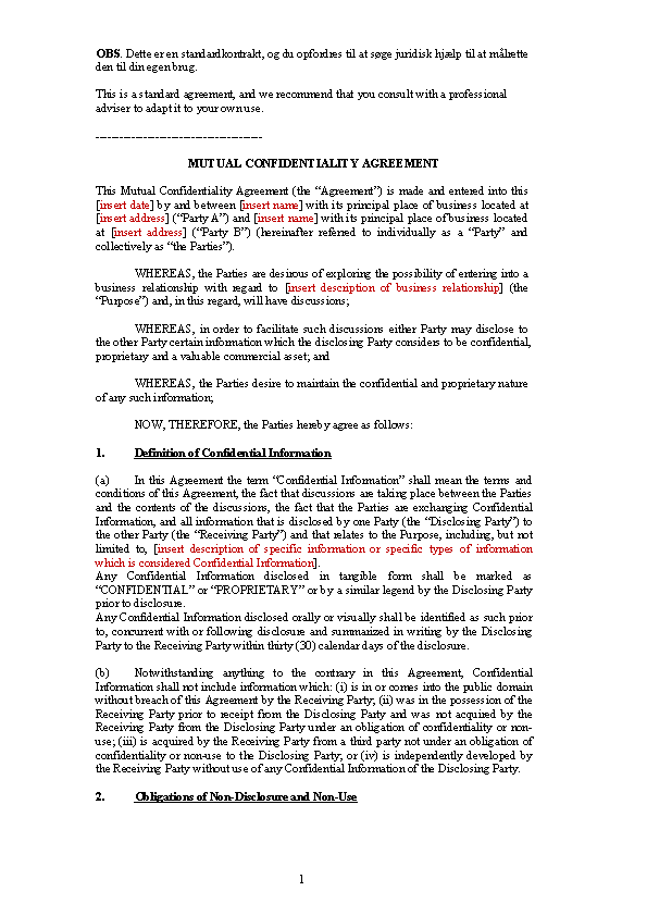 Example Generic Celebrity Confidentiality Agreement