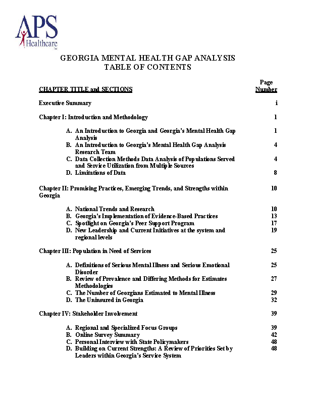 Example Georgia Mental Health Gap Analysis