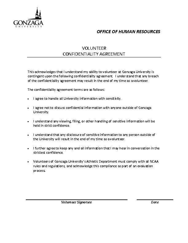 Example Human Resource Volunteer Confidentiality Agreement