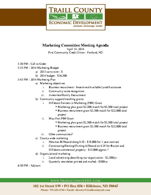 Example Marketing Budget Meeting Agenda