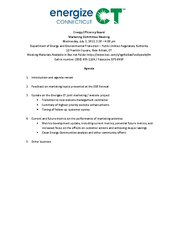 Example Marketing Feedback Meeting Agenda