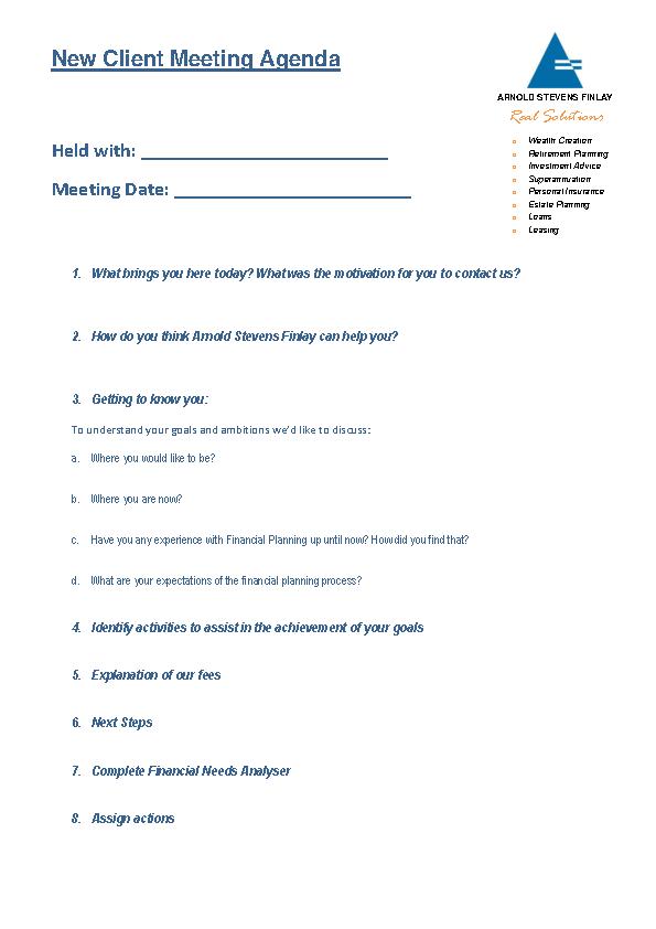 Example New Client Meeting Agenda