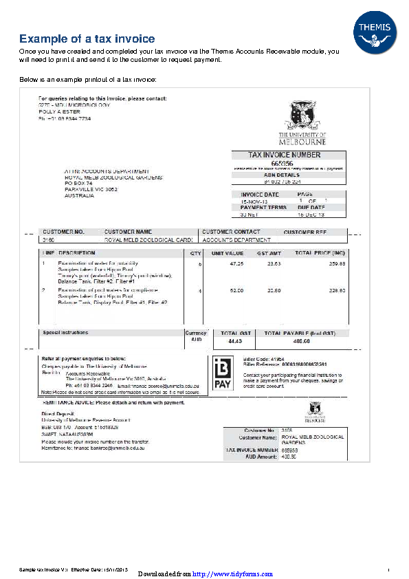 Example Of A Tax Invoice