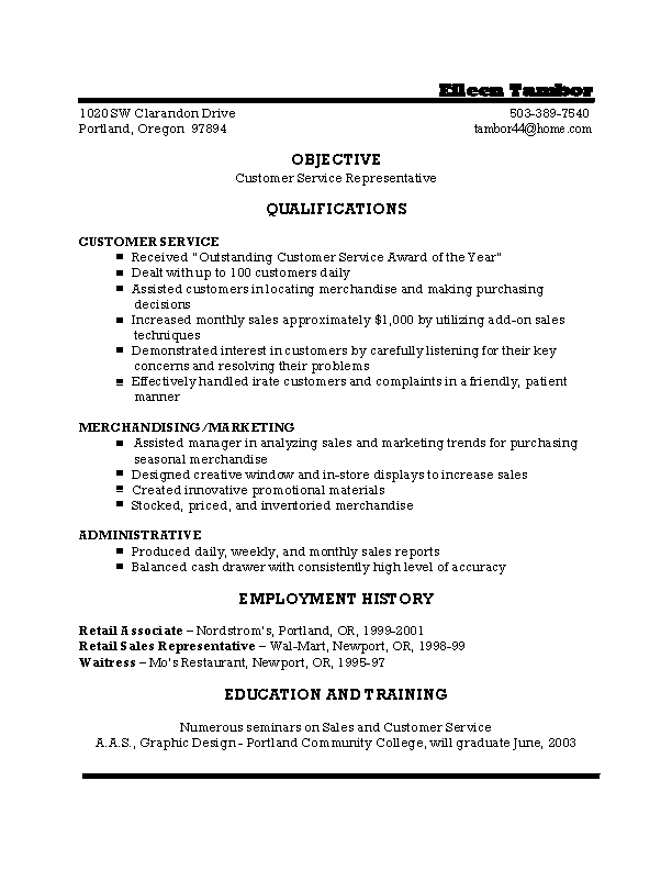 Example Of Customer Service Resume