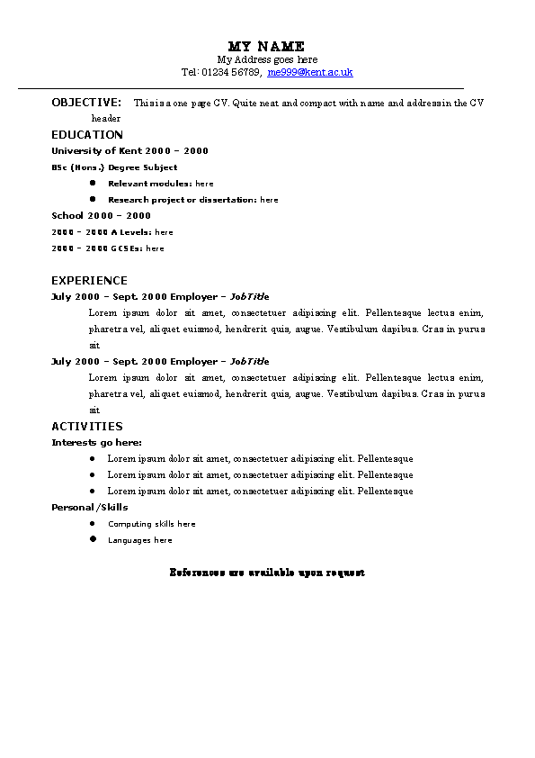 Example Of The Space Saving Resume