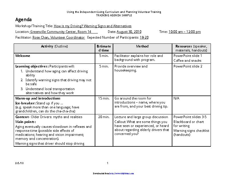 Example Of Training Agendas
